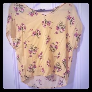 Yellow shirt with pink flowers